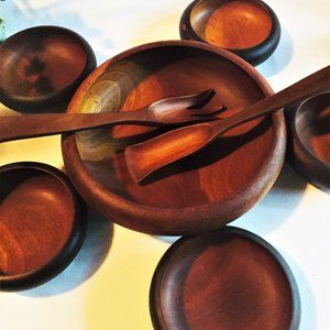 Haitian Mahogany Wood Salad Bowl Set